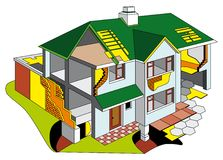 House in section. Diagrammatic representation of dwelling house in section. No blends and gradients Stock Image