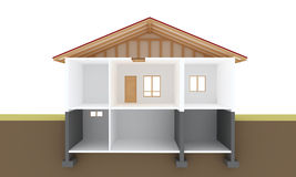 House section. Interior 3d drawing stock illustration