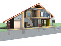 House in section Stock Images