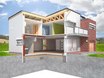 House section. Detailed rendering of a modern house in the section with visible interior infrastructure located in the idyllic natural background Royalty Free Stock Image