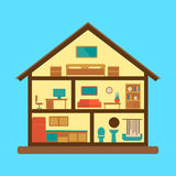 House section plan flat style colorful vector Stock Photo