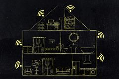 House section with wi-fi symbol in every room. Wi-fi at home concept: house section with internet connection symbol in every room Royalty Free Stock Photos