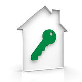 House secure. Outline house with a key Royalty Free Stock Image