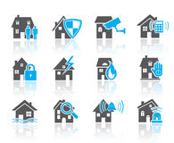 House security icons-blue Royalty Free Stock Photos
