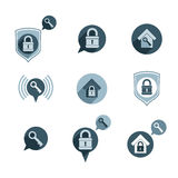 House security protection vector icons set, home, house, padlock Royalty Free Stock Photos