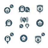 House security protection vector icons set, home, house, padlock Stock Images