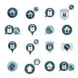 House security protection vector icons set, home, house, padlock Royalty Free Stock Images