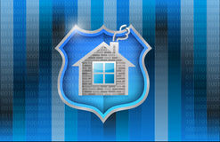 House security shield illustration design. Over a binary background Stock Image