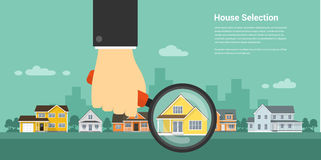 House selection concept. Picture of a human hand holding magnifying glass and number of houses, house selection, house project, real estate concept, flat style Stock Photography