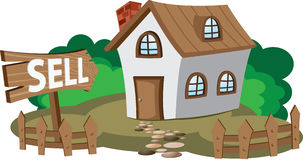 House for sell. Illustration of house for sell. Concept of city lifestyle Royalty Free Stock Photography