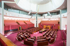 The House of the Senate. CANBERRA, AUSTRALIA - MAR 25, 2016: Interior view of the Australian Senate in Parliament House, Canberra, Australia royalty free stock photos