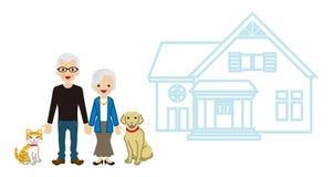 House and Senior couple - Pets Stock Photos
