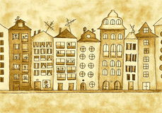 House - sepia. Hand drawn illustration of the houses, in sepia Royalty Free Stock Photography
