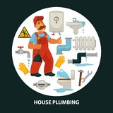 House service vector flat poster for kitchen or bathroom sewerage and leakage plumber repair equipment. House service poster for kitchen or bathroom sewerage and Stock Image