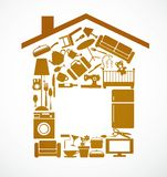 House set with furnitures and elctronics Royalty Free Stock Image