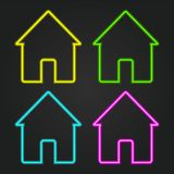 House, set, neon vector. House neon icon glow eps 10 stock illustration