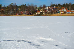 Houses by a frozen lake royalty free stock photo