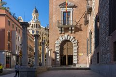 House of Seven Chimneys in City of Madrid, Spain Stock Image