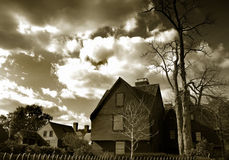 House of the Seven Gables. Black and white scenic view of House of the Seven Gables, Salem, Massachusetts, U.S.A royalty free stock photo
