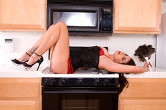 house sexy wife στοκ φωτογραφία με δικαίωμα ελεύθερης χρήσης