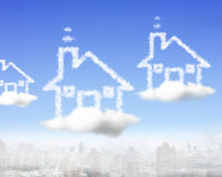 House shape clouds in the sky Royalty Free Stock Photos