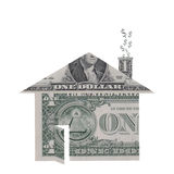 House Shape Made From Dollar Bills Stock Photo