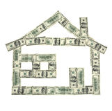 House shape made of money Royalty Free Stock Images