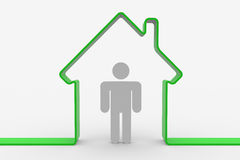 House shape with man inside Stock Photo