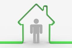 House shape with man inside Stock Photo