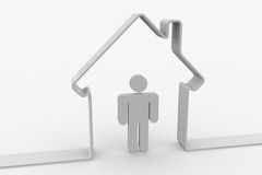 House shape with man inside Stock Image