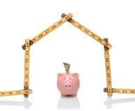 House Shape Ruler Piggy Bank stock images