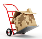 House shaped cardboard box with world map texture on hand truck. 3D illustration Stock Photography