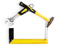 House shaped frame made by tools. With copy space  on white background Stock Photo