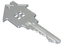 House shaped key isolated on white Stock Photos