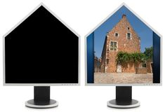 House shaped PC monitor collage Stock Photos