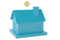 House shaped piggy bank and gold coins.3D illustration. House shaped piggy bank and gold coins Stock Photo