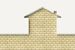 House shaped white wall with bricks behind Stock Photo
