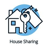 House sharing, property share concept with key Royalty Free Stock Photos