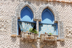 The House of Shells in Peniscola, Spain. Detail of The House of Shells (La Casa de las Conchas) in Peniscola, Spain. This unusual house has a facade decorated Stock Image
