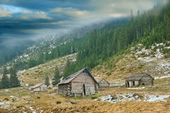 House of shepherds in the Ukrainian Carpathians Stock Photos