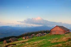 House of shepherds. In Ukrainian Carpathians Royalty Free Stock Image