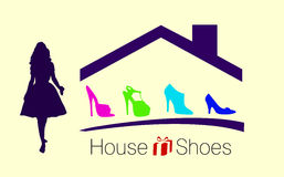 House shoes - business concept design. Fashion womans at the shopping - Illustration Stock Image