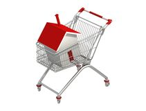 House Shopping. Simple house in a shopping cart isolated on white - digital artwork Royalty Free Stock Photo