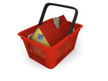 House in shopping basket Stock Images