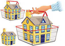 House in shopping basket Royalty Free Stock Image