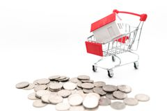 House in the shopping cart royalty free stock photos