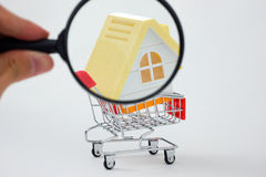 House in shopping cart Stock Images