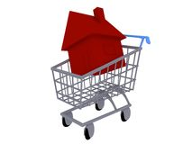 House in a Shopping Cart Royalty Free Stock Image