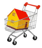 House in shopping cart Royalty Free Stock Photo