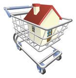 House shopping cart concept. An illustration of a shopping cart trolley with house Royalty Free Stock Photography